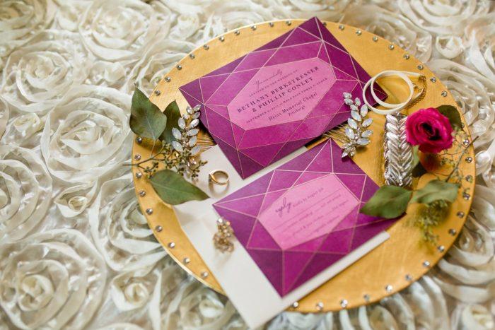 Jewel Tone Geometric Wedding Invitations: Bold Sangria Wedding at the University Club from Jenna Hidinger Photography featured on Burgh Brides