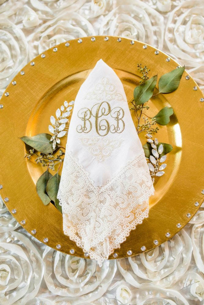 Monogrammed Vintage Lace Handkerchief for Bride on Wedding Day: Bold Sangria Wedding at the University Club from Jenna Hidinger Photography featured on Burgh Brides
