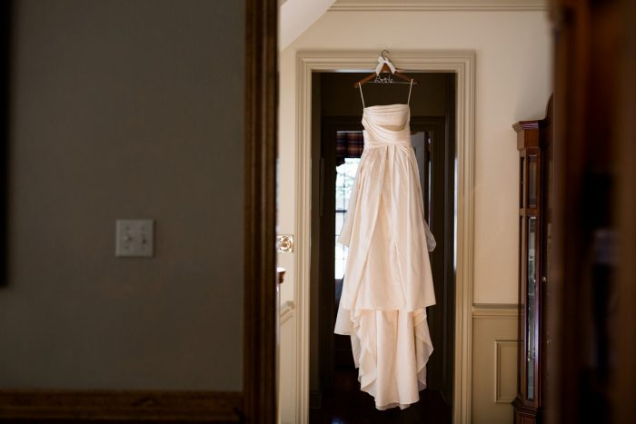 High Waisted Wedding Dress: Bold Sangria Wedding at the University Club from Jenna Hidinger Photography featured on Burgh Brides