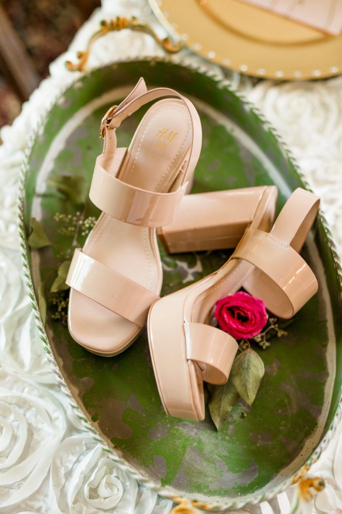 Nude Patent Leather Wedding Shoes: Bold Sangria Wedding at the University Club from Jenna Hidinger Photography featured on Burgh Brides