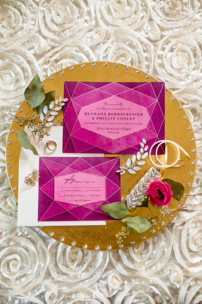 Jewel Tone Geometric Wedding Invitations: Bold Sangria Wedding at the University Club from Jenna Hidinger Photography featured on Burgh Brides