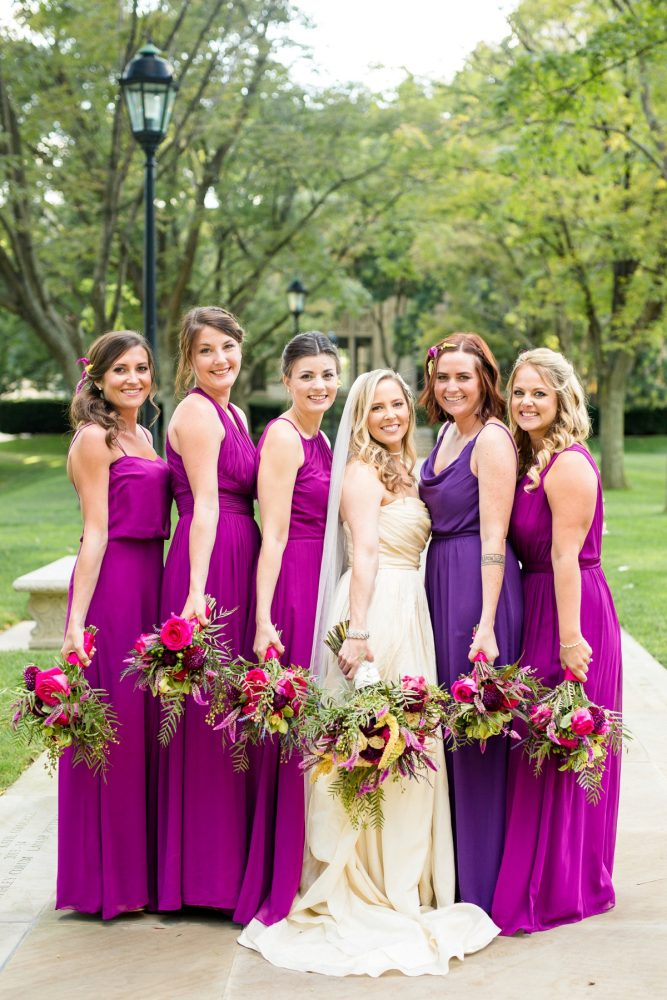 Jewel Tone Bridesmaids Dresses and Wedding Bouquets: Bold Sangria Wedding at the University Club from Jenna Hidinger Photography featured on Burgh Brides