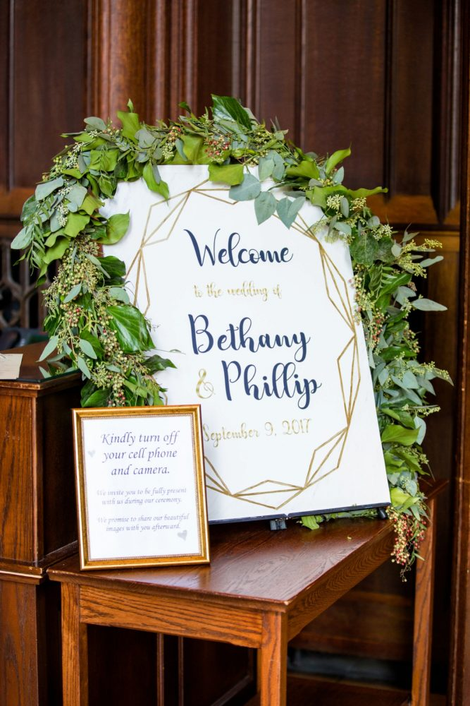 Wedding Welcome Signs: Bold Sangria Wedding at the University Club from Jenna Hidinger Photography featured on Burgh Brides