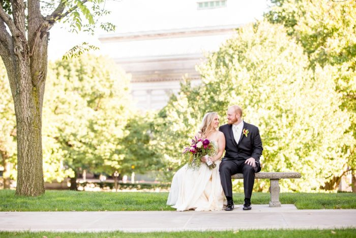 Outdoor Wedding Portraits: Bold Sangria Wedding at the University Club from Jenna Hidinger Photography featured on Burgh Brides