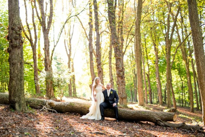 Outdoor Woodsy Wedding Portraits: Bold Sangria Wedding at the University Club from Jenna Hidinger Photography featured on Burgh Brides