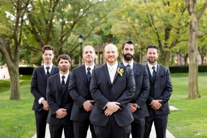 Classic Black and White Tuxedos for Groom and Groomsmen: Bold Sangria Wedding at the University Club from Jenna Hidinger Photography featured on Burgh Brides