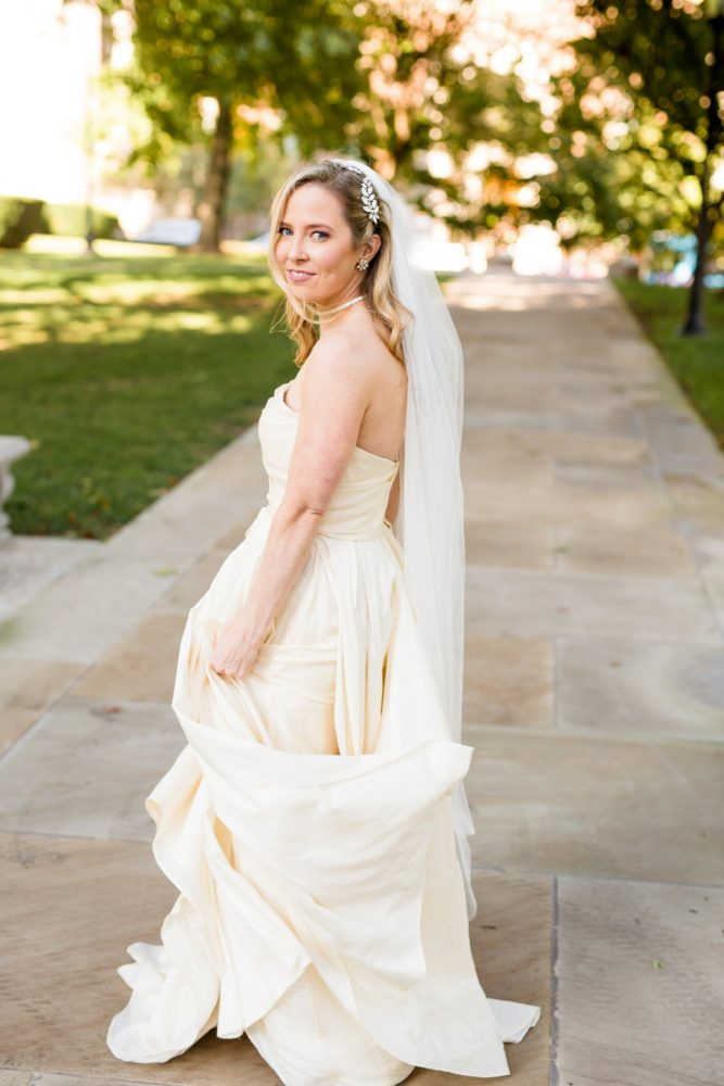 Ivory Wedding Dress: Bold Sangria Wedding at the University Club from Jenna Hidinger Photography featured on Burgh Brides