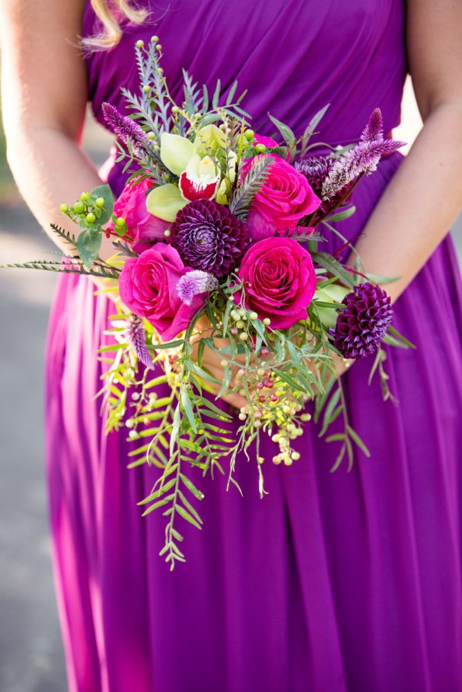 Jewel Tone Bridesmaids Bouquet: Bold Sangria Wedding at the University Club from Jenna Hidinger Photography featured on Burgh Brides