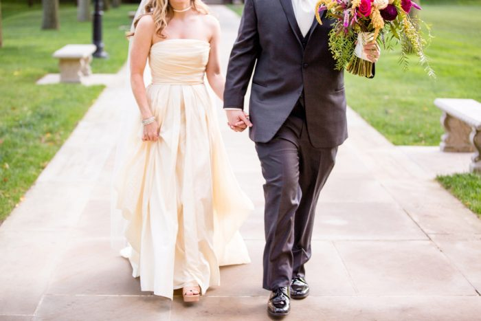 Ivory High Waisted Wedding Dress: Bold Sangria Wedding at the University Club from Jenna Hidinger Photography featured on Burgh Brides