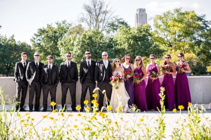Super Fun Bridal Party with Sunglasses: Bold Sangria Wedding at the University Club from Jenna Hidinger Photography featured on Burgh Brides
