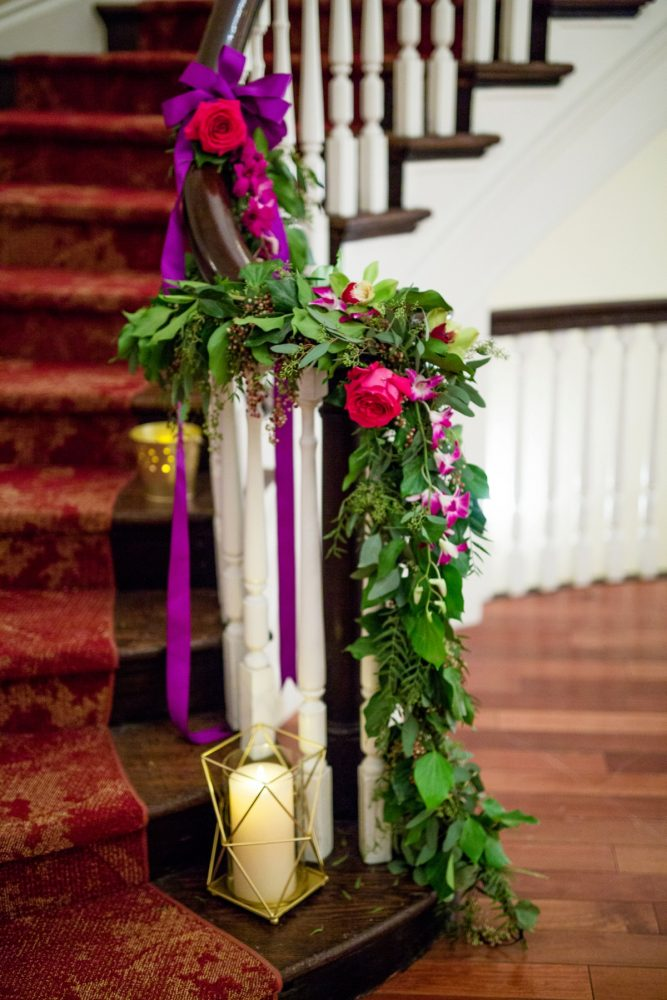 Greenery Runner Wedding Decor: Bold Sangria Wedding at the University Club from Jenna Hidinger Photography featured on Burgh Brides