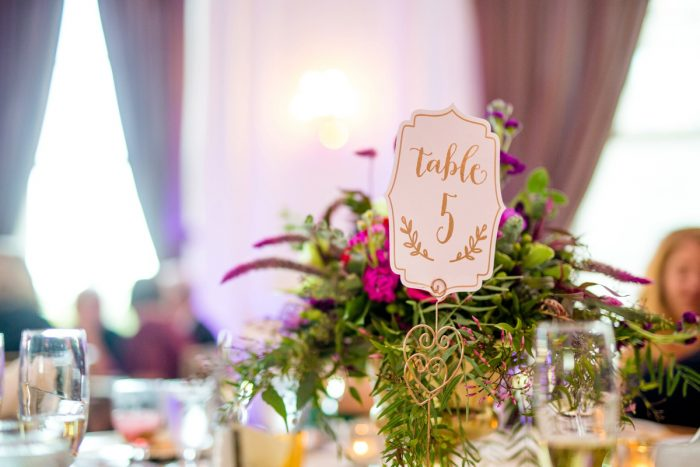 Whimsical Gold Wedding Table Numbers: Bold Sangria Wedding at the University Club from Jenna Hidinger Photography featured on Burgh Brides