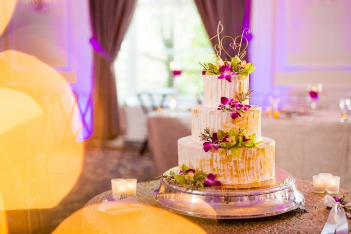 Gold Drip Wedding Cake: Bold Sangria Wedding at the University Club from Jenna Hidinger Photography featured on Burgh Brides