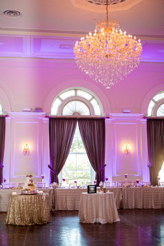 Pink Wedding Uplighting: Bold Sangria Wedding at the University Club from Jenna Hidinger Photography featured on Burgh Brides