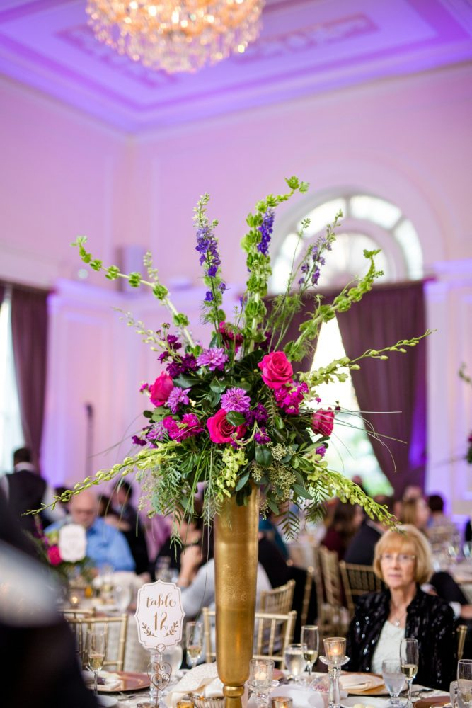 Pink and Purple Wedding Flowers: Bold Sangria Wedding at the University Club from Jenna Hidinger Photography featured on Burgh Brides