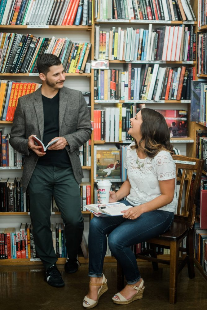 Bookstore Engagement Session from Dawn Derbyshire Photography featured on Burgh Brides