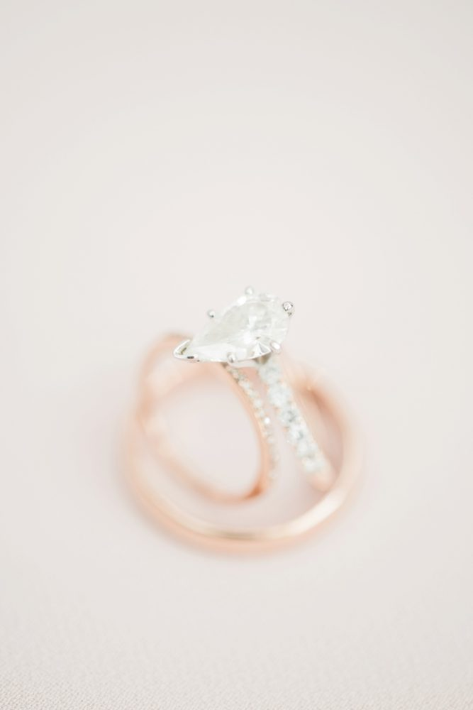 Pear Shaped Diamond Engagement Ring with Gold Band: Enchanting Greenery Inspired Wedding from Levana Melamed Photography featured on Burgh Brides