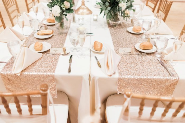 Rose Gold Sequin Table Runners at Wedding: Enchanting Greenery Inspired Wedding from Levana Melamed Photography featured on Burgh Brides