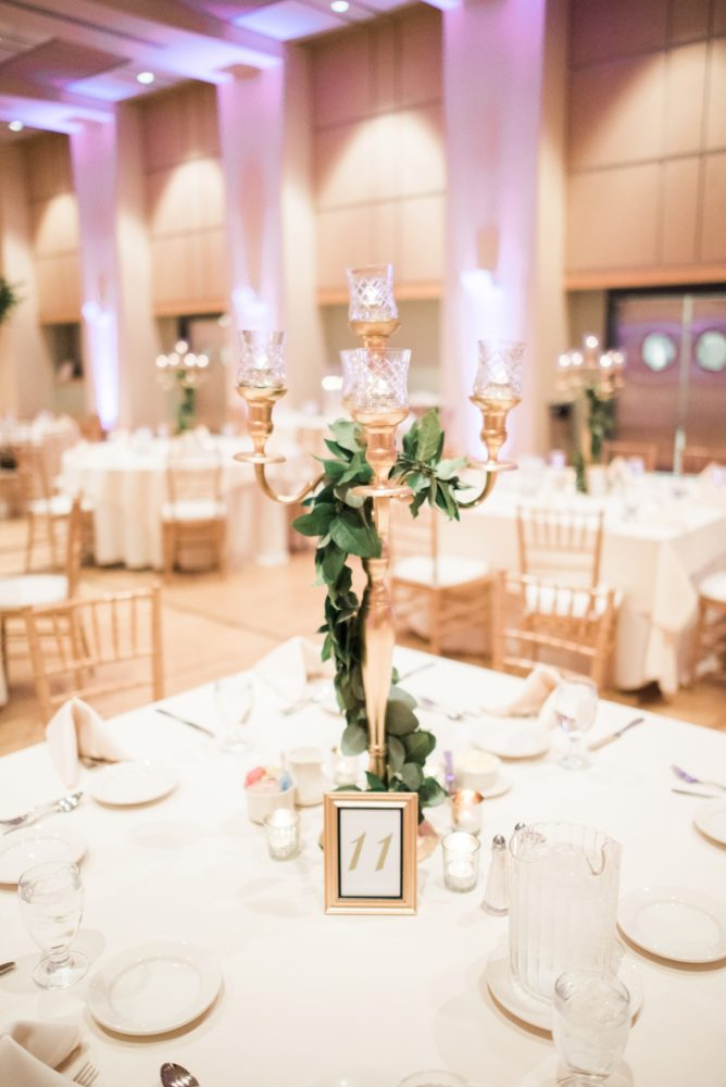 Gold Candelabra Wedding Centerpieces: Enchanting Greenery Inspired Wedding from Levana Melamed Photography featured on Burgh Brides