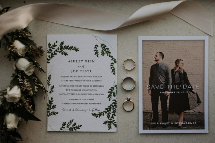 Greenery Inspired Wedding Invitations: Hip & Modern Wedding from All Heart Photo & Video featured on Burgh Brides