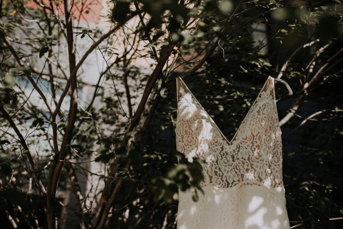 Lace Spaghetti Strap Wedding Dress: Hip & Modern Wedding from All Heart Photo & Video featured on Burgh Brides
