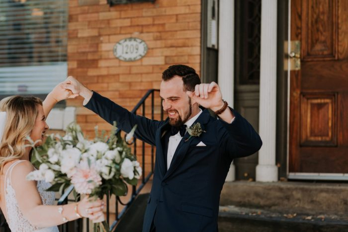 Wedding Day First Look with Bride and Groom: Hip & Modern Wedding from All Heart Photo & Video featured on Burgh Brides