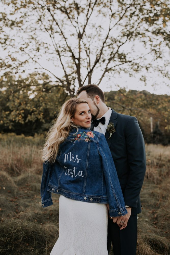 Custom Bridal Jacket for Bride on Wedding Day: Hip & Modern Wedding from All Heart Photo & Video featured on Burgh Brides