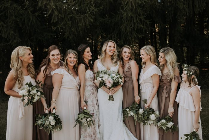 Mismatched Bridesmaids Dresses: Hip & Modern Wedding from All Heart Photo & Video featured on Burgh Brides