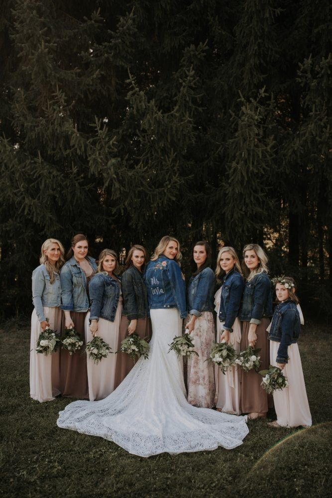 Custom Denim Jackets for Bride and Bridesmaids on Wedding Day: Hip & Modern Wedding from All Heart Photo & Video featured on Burgh Brides