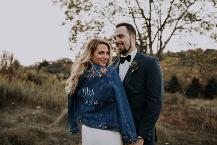 Custom Denim Jacket for Bride on Wedding Day: Hip & Modern Wedding from All Heart Photo & Video featured on Burgh Brides