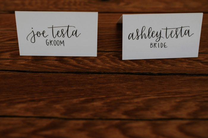 Hand Lettered Wedding Escort Cards: Hip & Modern Wedding from All Heart Photo & Video featured on Burgh Brides