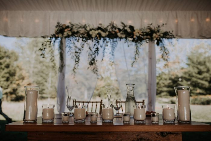 Floral Canopy Over Bride and Groom Sweetheart Table at Wedding Reception: Hip & Modern Wedding from All Heart Photo & Video featured on Burgh Brides