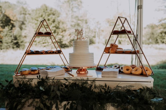 Donut Display at Wedding Dessert Table: Hip & Modern Wedding from All Heart Photo & Video featured on Burgh Brides