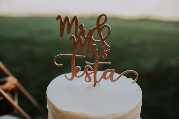 Custom Wooden Wedding Cake Topper: Hip & Modern Wedding from All Heart Photo & Video featured on Burgh Brides