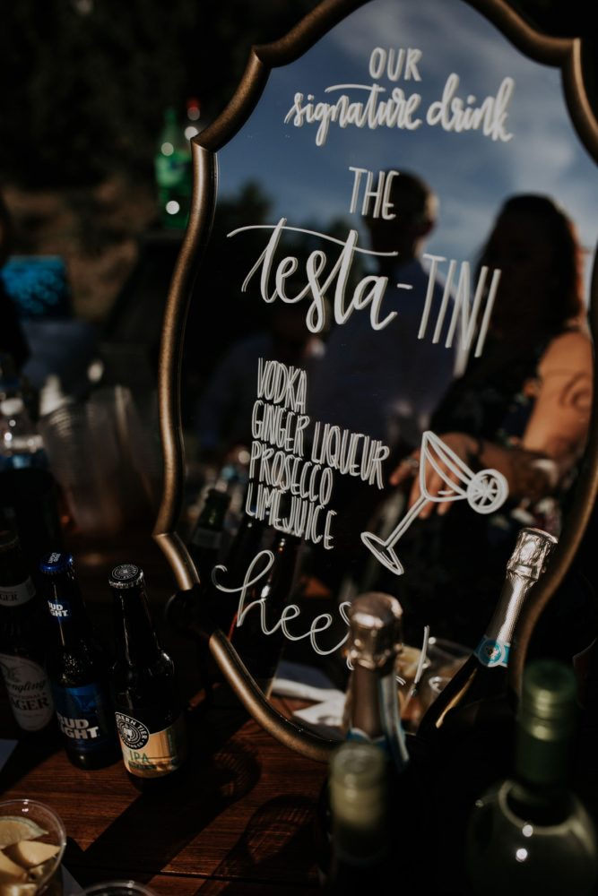 Mirror Bar Signs at Wedding: Hip & Modern Wedding from All Heart Photo & Video featured on Burgh Brides