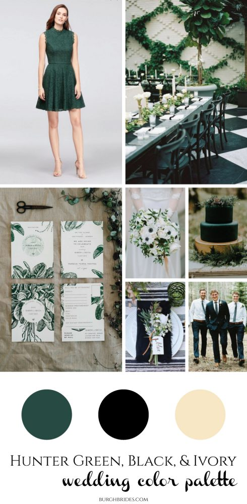 Hunter Green, Black, & Ivory Wedding Inspiration from Burgh Brides
