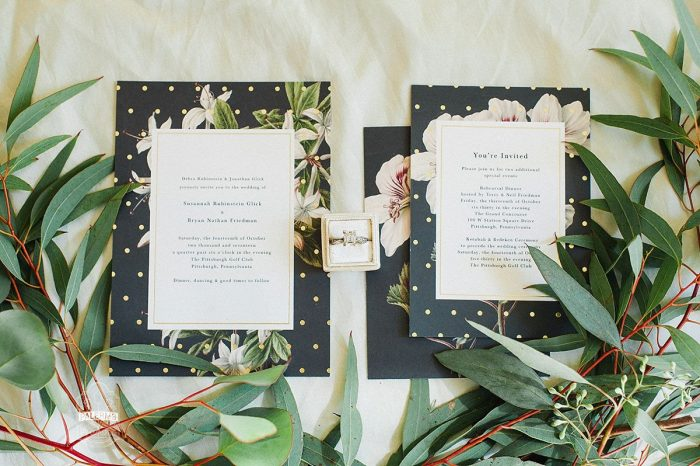 Black Floral Print Wedding Invitations: Modern Garden Inspired Wedding at the Pittsburgh Golf Club from Palermo Photography featured on Burgh Brides