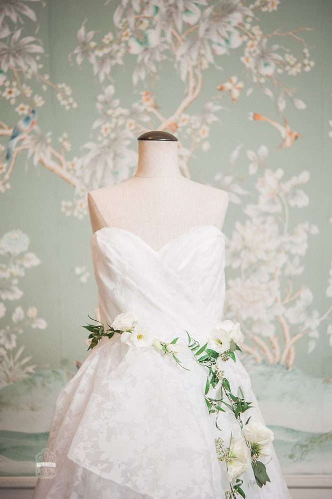 Sweetheart Neckline Floral Print Wedding Dress with Fresh Floral Belt: Modern Garden Inspired Wedding at the Pittsburgh Golf Club from Palermo Photography featured on Burgh Brides