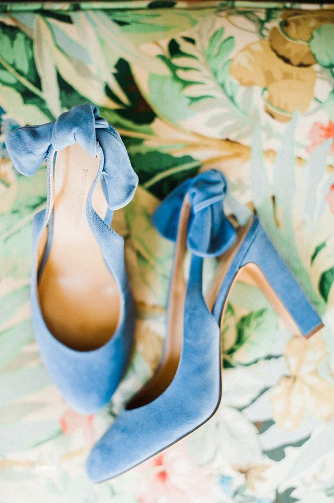Blue Suede Bridal Wedding Shoes: Modern Garden Inspired Wedding at the Pittsburgh Golf Club from Palermo Photography featured on Burgh Brides