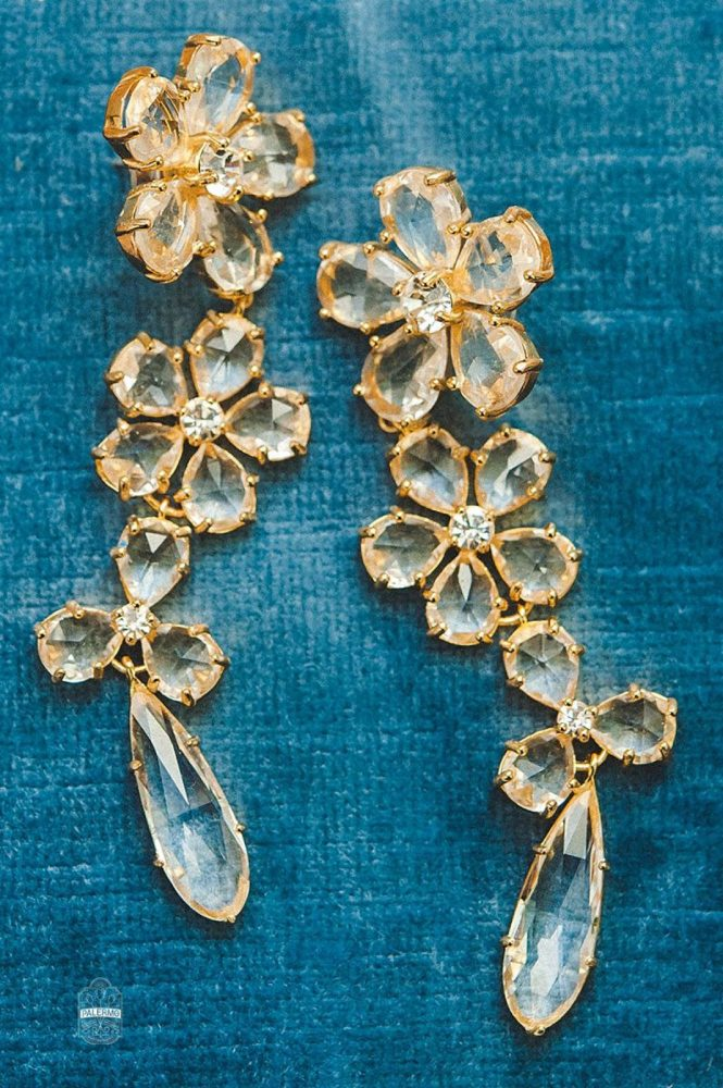 Gold Crystal Drop Earrings for Bride: Modern Garden Inspired Wedding at the Pittsburgh Golf Club from Palermo Photography featured on Burgh Brides