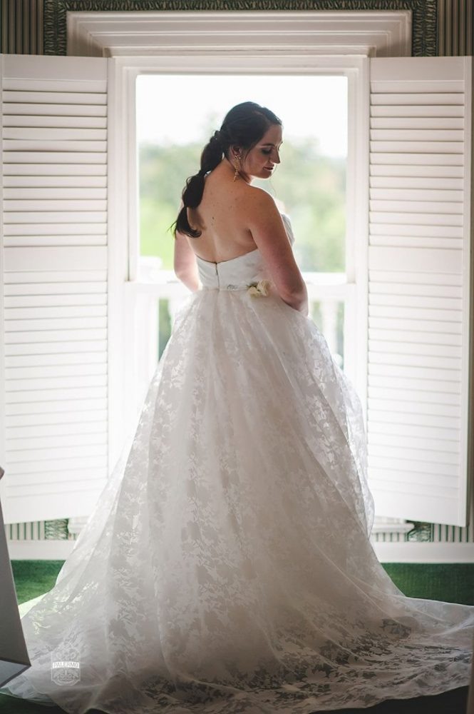 Floral Print Wedding Dress: Modern Garden Inspired Wedding at the Pittsburgh Golf Club from Palermo Photography featured on Burgh Brides