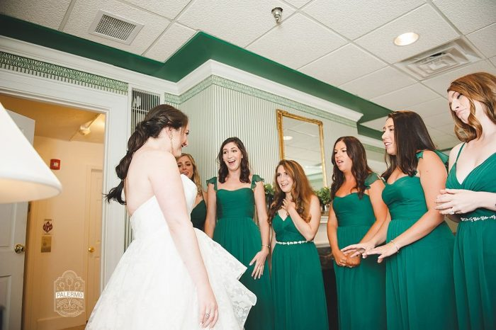 Bride's First Look with Bridesmaids: Modern Garden Inspired Wedding at the Pittsburgh Golf Club from Palermo Photography featured on Burgh Brides