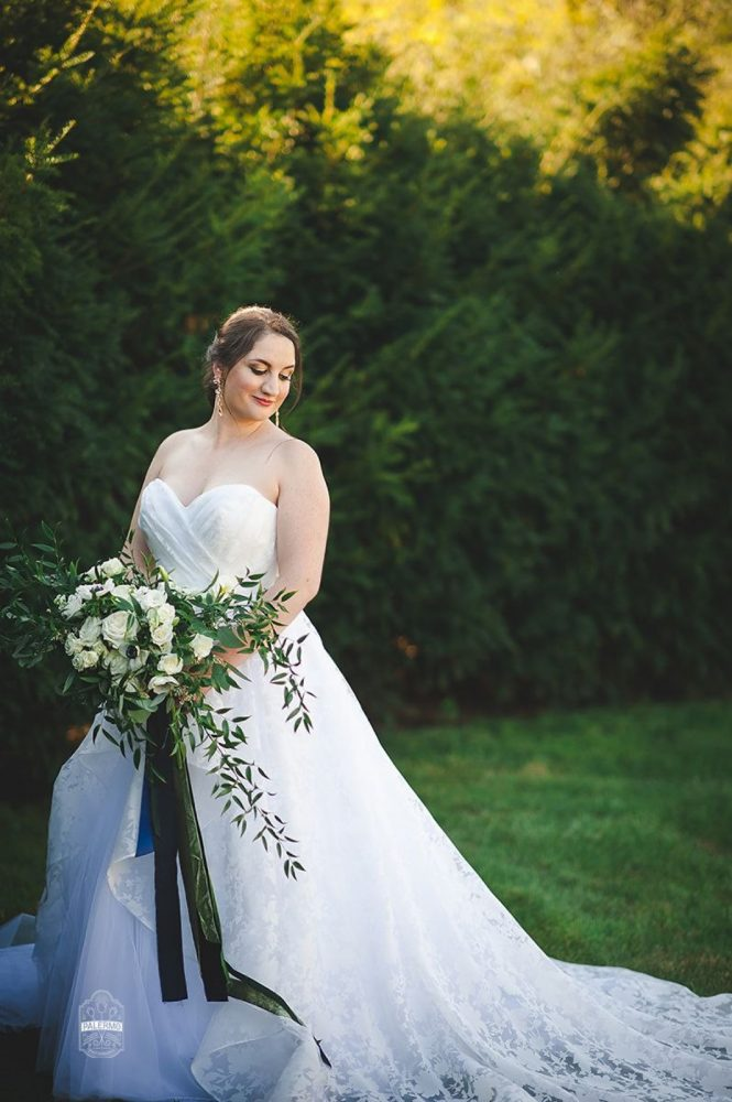 Huge Greenery Wedding Bouquet with Silk Ribbons for Bride: Modern Garden Inspired Wedding at the Pittsburgh Golf Club from Palermo Photography featured on Burgh Brides