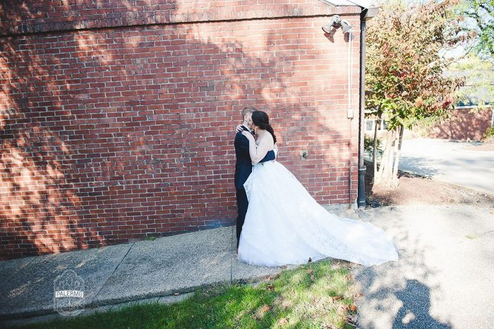 Wedding First Look: Modern Garden Inspired Wedding at the Pittsburgh Golf Club from Palermo Photography featured on Burgh Brides