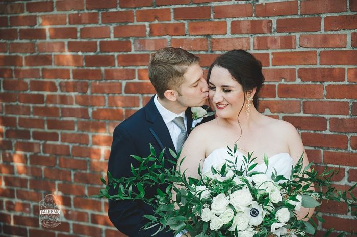 Green and White Wedding Bouquet for Bride: Modern Garden Inspired Wedding at the Pittsburgh Golf Club from Palermo Photography featured on Burgh Brides