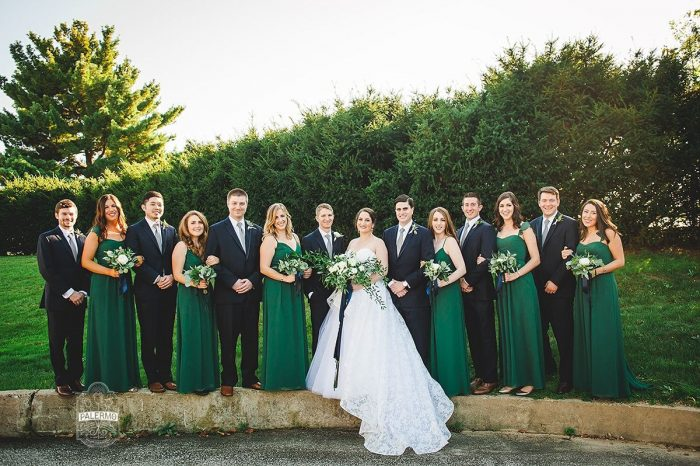 Hunter Green Bridesmaids Dresses: Modern Garden Inspired Wedding at the Pittsburgh Golf Club from Palermo Photography featured on Burgh Brides