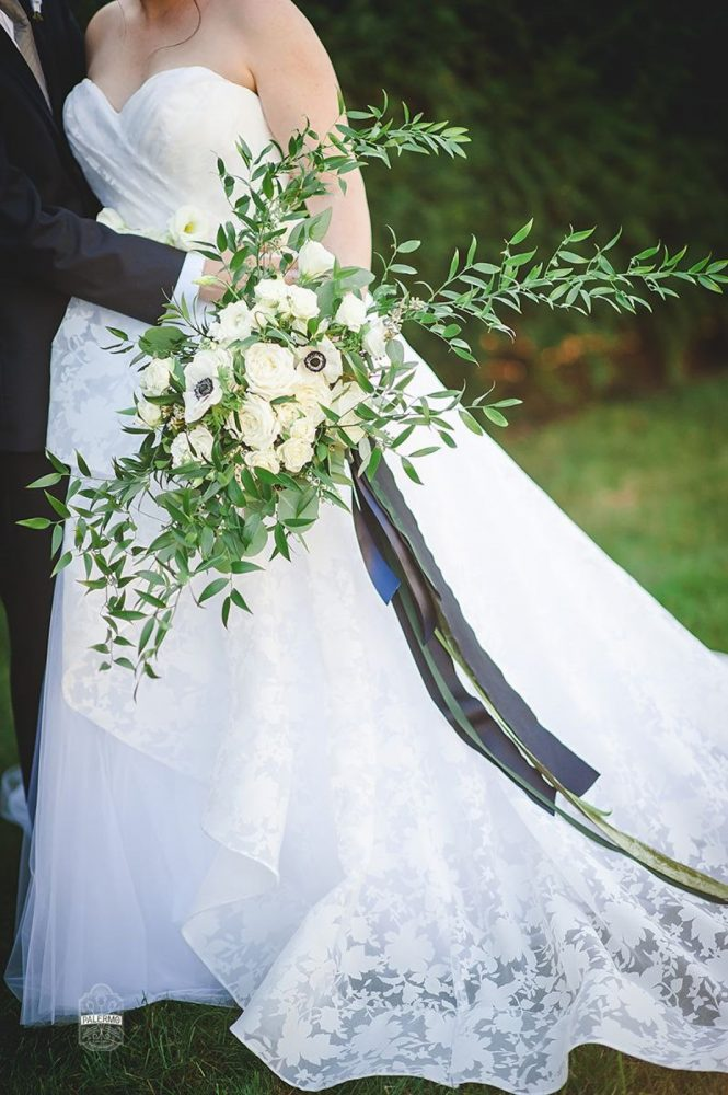 Lush Green and White Wedding Bouquet with Navy Silk Ribbons: Modern Garden Inspired Wedding at the Pittsburgh Golf Club from Palermo Photography featured on Burgh Brides