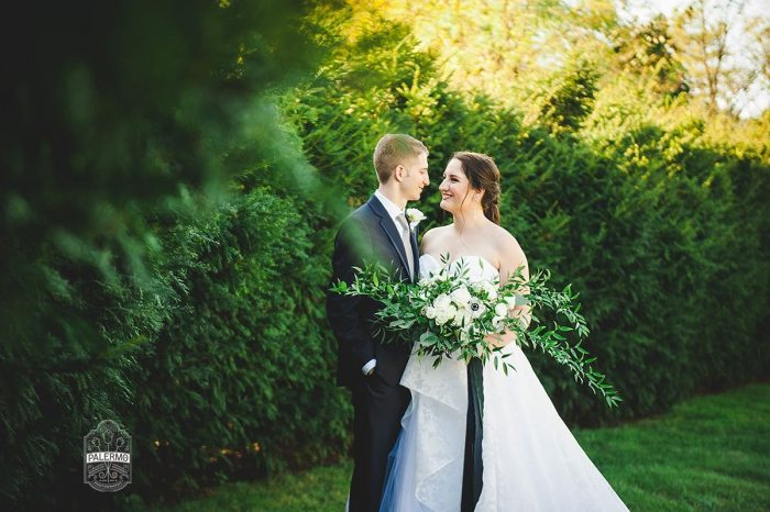 Lush Green and White Wedding Bouquet with Navy Blue Silk Ribbons: Modern Garden Inspired Wedding at the Pittsburgh Golf Club from Palermo Photography featured on Burgh Brides