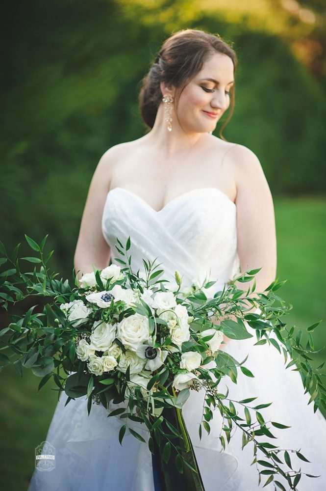 Big Green and White Bridal Bouquet: Modern Garden Inspired Wedding at the Pittsburgh Golf Club from Palermo Photography featured on Burgh Brides
