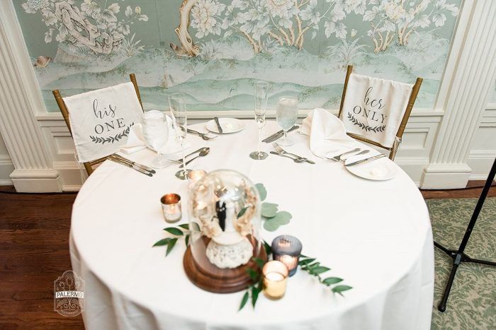 Cute Bride and Groom Chair Signs at Wedding: Modern Garden Inspired Wedding at the Pittsburgh Golf Club from Palermo Photography featured on Burgh Brides
